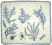 20x24 Handmade Wool Needlepoint Petit Point Blue Seaweeds Pillow With Cording