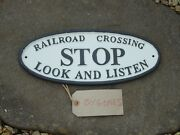 Large Railroad Crossing Cast Iron Sign Metal Plaque / Train /railway / Stop
