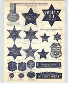 1910 Paper Ad German Silver Nickel Plated Police Marshall Star Badge Chicago