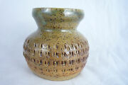 Studio Art Pottery Stoneware Small Textured Vase Pot -Signed - Dated 2000