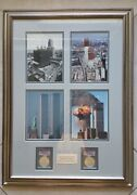 Two 2001 Wtc Ground Zero 911 American Silver Eagle 1 And Art Frame.andnbsp