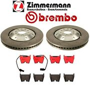 For Audi Rs6 Set Of 2 Front Drilled Disc Brake Rotors Zimmermann Brembo Pads Kit