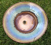 """Bill Campbell Pottery 9.25"""" Diameter Bowl with Flower Frog"""
