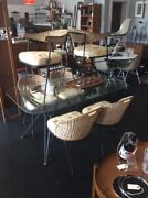 C.1950and039s Salterini Dining Set By Tempestini Italy Iron And Cane Chairs Table