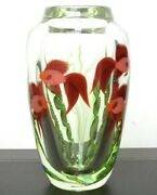 Orient And Flume Red Beta Fish Underwater S.beyers Glass Paperweight/vase,apr 10l