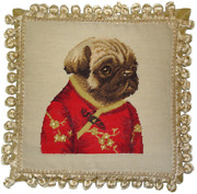 12 X 12 Wool Needlepoint Dog Pug Girl In Red Ancient Chinese Costume Pillow