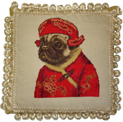 12 X 12 Wool Needlepoint Dog Pug Boy In Red Ancient Chinese Costume Pillow