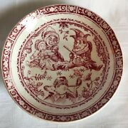 C Allerton And Son England Punch Red Transfer Ware 4 1/2 Childs Plate Saucer