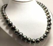 10mm - 12mm Gray/green Tahitian Pearl Necklace 14k Yellowgold Diamond Clasp 17