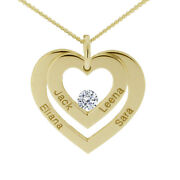 Yellow Gold Plated On Silver Personalised Double Heart Pendant Necklace And Chain