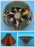 Vintage American VLS Studio Pottery Layered Terracotta Autumn Cats Bowl