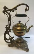 Antique Late 1800's Tea Pot W/ Warmer On A Cast Iron Stand By Bradley And Hubbard