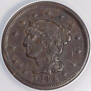 1844 1c 44 Over 81 Braided Hair N-2 Large Cent Anacs Ef 40
