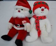 Lot Of Large Size Ty Beanie Baby Snow Boy And Santa Beanie Buddies Collection
