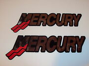 Two Mercury Boat Decals 17 Inch Chrome Marine Vinyl Mercury Outboard Decals Set