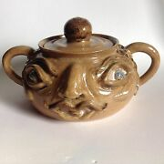 Vintage Art Pottery Double Sided Casserole Pot Two Faces Eyes Open / Shut Signed