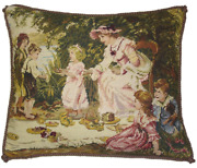 16 X 20 Handmade Wool Needlepoint Petit Point Lady And Children Pillow