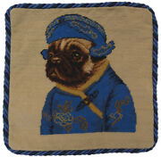 12 X 12 Wool Needlepoint Dog Pug Boy In Blue Ancient Chinese Costume Pillow