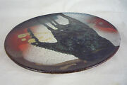 """11"""" Studio Art Pottery Abstract New Wave Plate Wall Plaque - Marked DANTCHO B"""