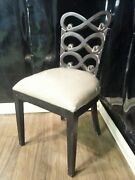 Steven Shell Lewis Dining Chair Black Distressed W/ Linen Bottom Seat Of 6