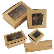 Kraft Cupcake Boxes With Windows - And Inserts Rustic Brownie Bake Brown