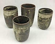 Studio Pottery Cups Mugs Artist Signed Lot of 4 Rustic Contemporary Drip