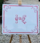 Lovely Original Old India And China Tea Sign Enamel
