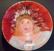 Vintage Signed Large Studio Art Pottery Bowl with Woman's Face Italian/Spanish