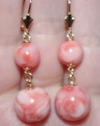 Antique Exquisite 14k Carved Large Angel Skin Coral Lever Back Earrings Aaaa