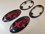 Red Replacement Front And Rear Emblems W/gloss Black Frames Trim For 15-21 Wrx Sti