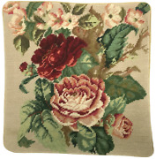 Needlepoint Pillow   Handmade Wool Dark Red And Pink Cabbage Roses Cushion 14x14