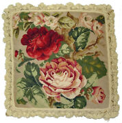 Needlepoint Pillow   Handmade Wool Dark Red And Pink Cabbage Roses Cushion 22x22
