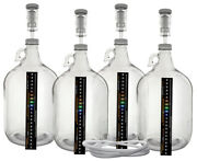 Pack Of Four 1 Gallon Glass Jugs With Lids Airlocks Thermometers And Blow Off