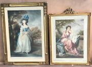 2 Pieces 19c English Colored Engravings Signed With Original Hancarved Frames
