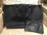 Yves Saint-laurent Ysl Neo Reversible Calfskin Leather Tote And Pouch Navy 1495