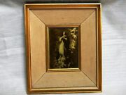 Antique Religious Portrait Double Frame Virgin Mary Angels Printed On Glass