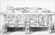 Tomb And Lying Of Louis 1st The Pieux In St. Arnout Of Metz -engraving From 19th