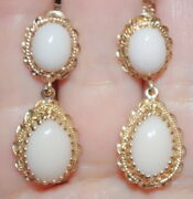Antique Gorgeous 14k Italy Angel Skin 36 Mm Coral Filigree Clip On Earrings