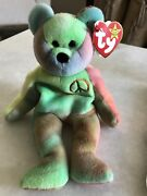 Ty Peace Beanie Baby Bear Original Collectible. Rare With Errors.