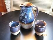 Vintage Hand Thrown Water Pitcher and 5 Goblets