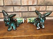 2 OLD MID CENTURY LARGE DONKEY MULE CARTS ART POTTERY SCULPTURES SIGN ITALY 0178