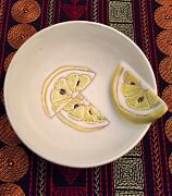 Vintage Pottery Bowl Lemon Slice Hand Made Hand Painted Made in Italy