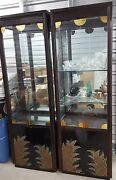 2 Beautiful Hand Painted Black Lacquer China Cabinets W/lights And Bases