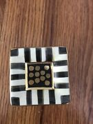 NEW Mackenzie Childs Courtly Check Stripe Square Hand Painted Drawer Pulls Knobs