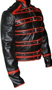 Men Real Black And Red Leather Rock-star Biker Motorcycle Style Jacket And03986 Fj1