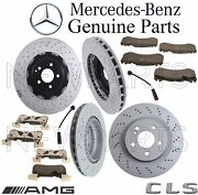 For Mb W219 Cls63 Amg Front And Rear Brake Kit 4 Rotors 8 Pads 2 Sensors Genuine