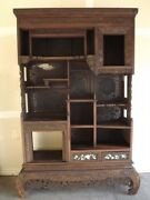 Gorgeous Antique Chinese Hand Carved Hardwood Dispaly Cabniet 90 19th C