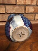 OLD UNIQUE STUDIO ART POTTERY CERAMIC STONEWARE HANDLED PITCHER ARTIST SIGNED HC