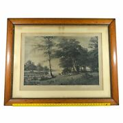 Vtg Framed Etching Print Keller-see In Holstein By F. Ebel And Rudolph Schuster