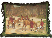 18 X 22 Wool Needlepoint Horse Dog Equestrian Fox Hunt The Gathering Pillow